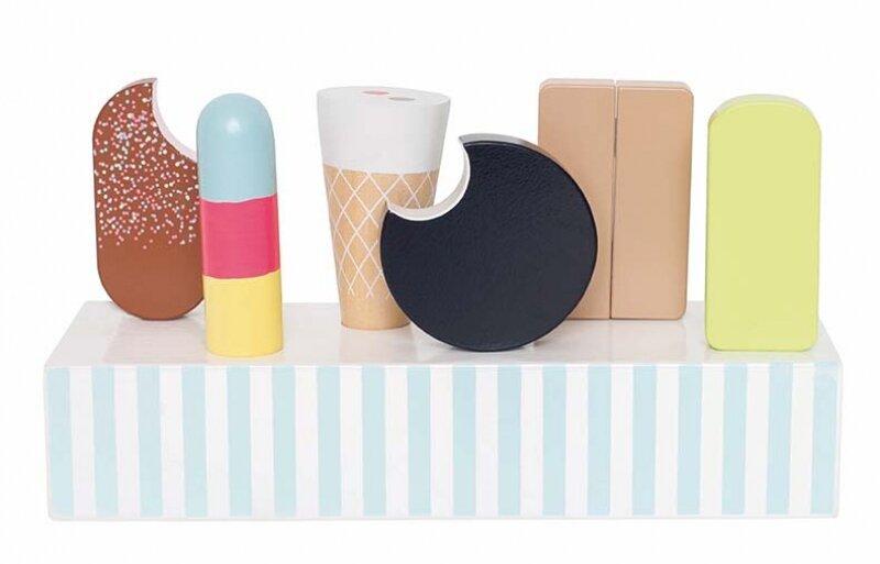 Houten ijsdoos met Retro speelijsjes (7 delig)