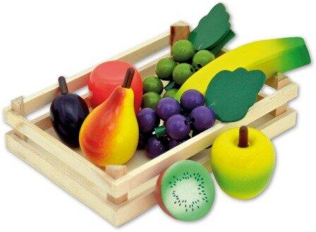 Kratje met houten fruit (9 delig)