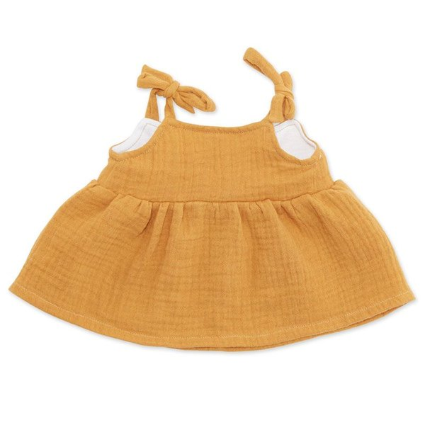 Spaghettibandjes jurk curry voor ByAstrup knuffelpoppen
