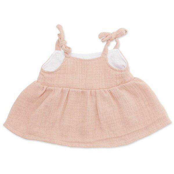 Spaghettibandjes jurk dusty rose voor ByAstrup knuffelpoppen