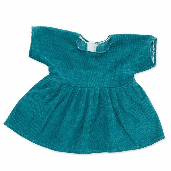 Corduroy jurk petrol voor ByAstrup knuffelpoppen
