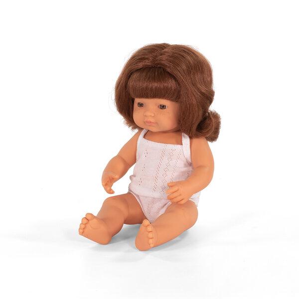 Blank babymeisje rood haar (38 cm)