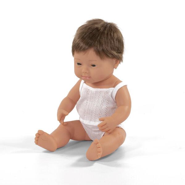 Blank babyjongen met het syndroom van Down (38 cm)