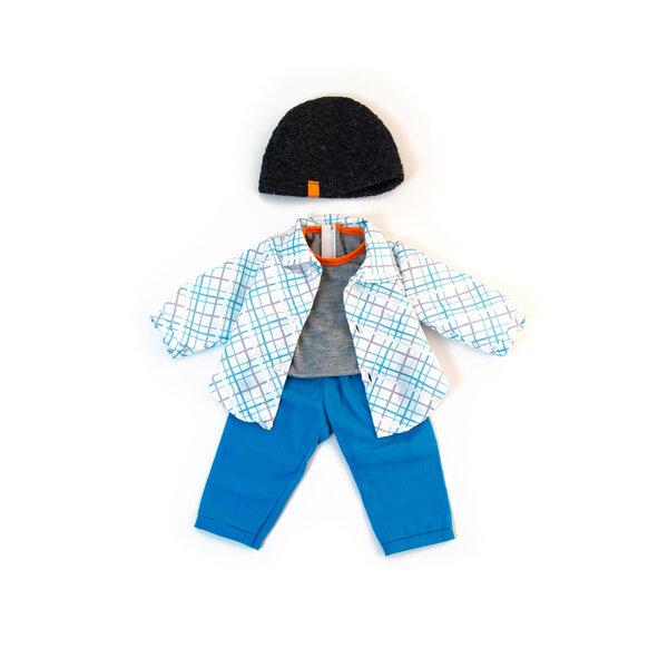 Stoere 4 delige kledingset blauw voor poppen 38 cm