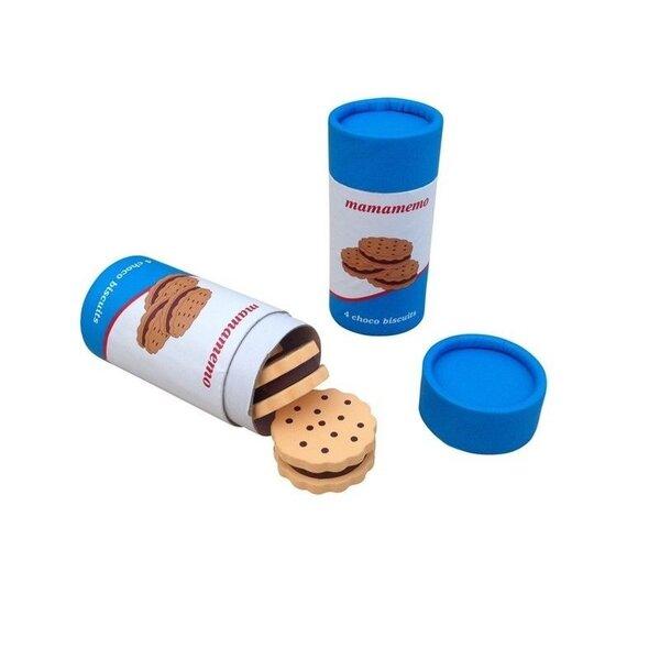 4 Houten dikke koeken in een bus (5 delig)