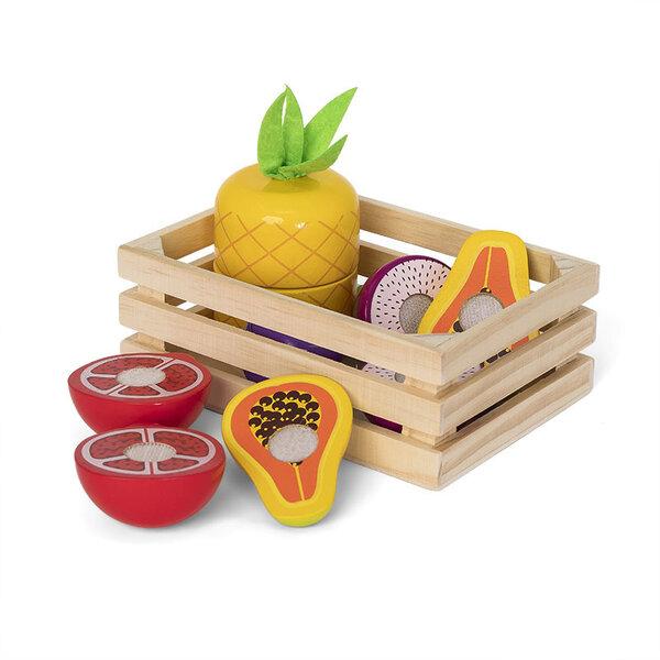 Houten kratje met exotisch fruit (10 delig)