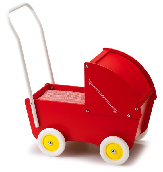 Poppenwagen rood inclusief matrasset