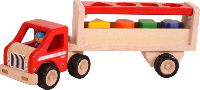 Truck met geometrische blokken