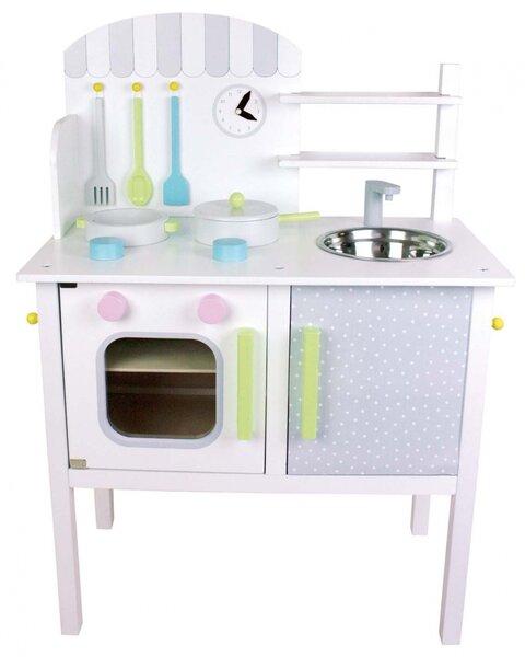 Houten speelkeuken wit met pastelkleuren