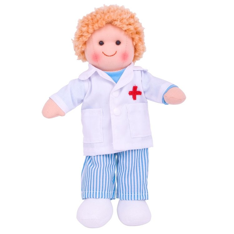 Stoffen pop dokter Tommy 28 cm Small