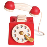 Houten vintage telefoon