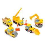Set van 5 houten constructievoertuigen