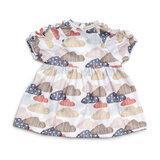 Poppenkleding jurk met wolkjes (36 cm)