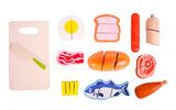 Etenswaren snijset in koffer_
