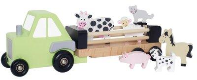 Houten tractor met aanhanger en 6 stuks vee