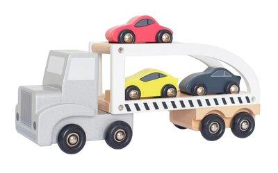 Houten vrachtwagen met trailer en 3 sportwagens