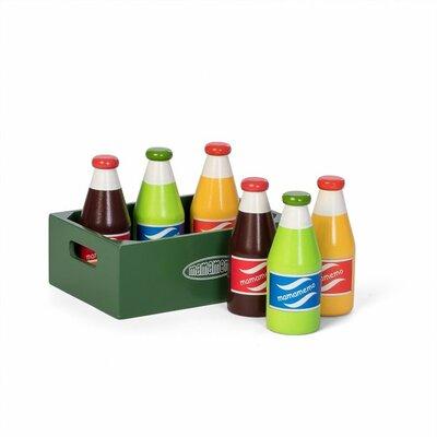 Houten flessen frisdrank in kratje (7 delig)