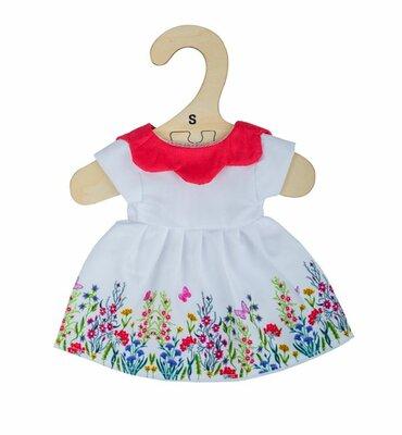Kledingset 25 cm Witte jurk met bloemen en rode kraag Small