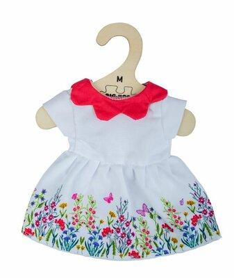 Kledingset 30 cm Witte jurk met bloemen en rode kraag Medium