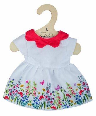 Kledingset 35 cm Witte jurk met bloemen en rode kraag Large