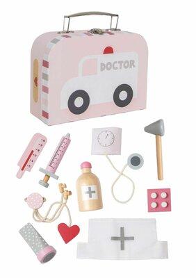 Dokterssetje in koffer Roze