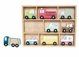 Houten voertuigen in kist (10-delig)