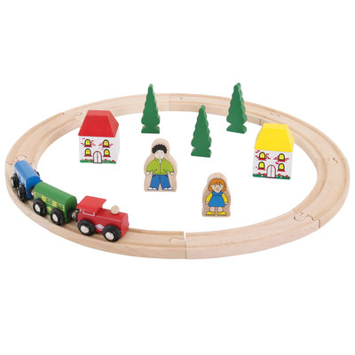 Houten treinbaanset junior (20 delig)