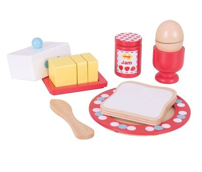 Houten ontbijtset