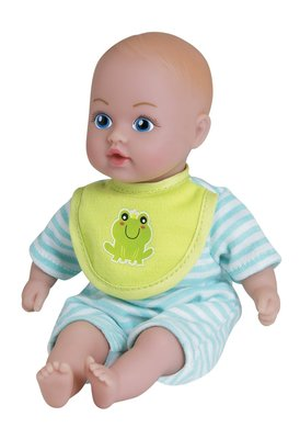 BABY TOTS - BLUE STRIPED  PJ WITH FROG BIB