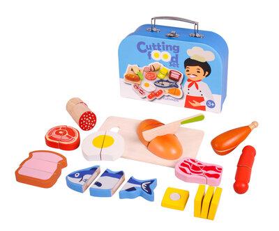 Etenswaren snijset in koffer