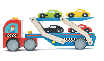 Retro stijl houten Autotranssporter met 4 auto's