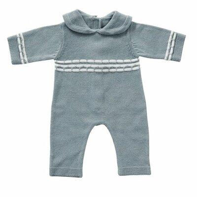 Gebreid babypakje blauw 45 cm