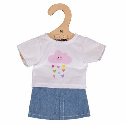 Kledingset 25 cm Wit T-Shirt met denim rok Small