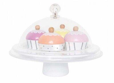 Cupcakeplateau met stolp pastel