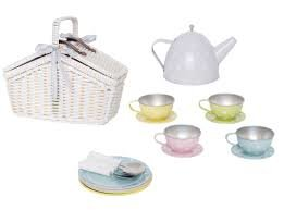 Picknickmand met tinnen theeservies pastel (18 delig)