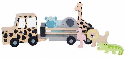 Houten safari jeep met aanhanger en 6 wilde dieren