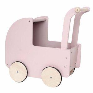 Roze houten poppenwagen met kap