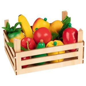 Houten opbergkrat met groente en fruit (10 delig)