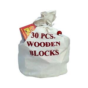 Baby blokken in stoffen zak (30 stuks)