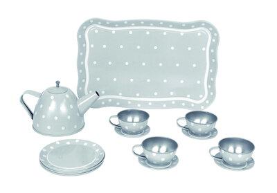 Grijs tinnen theeservies in koffer (15 delig)