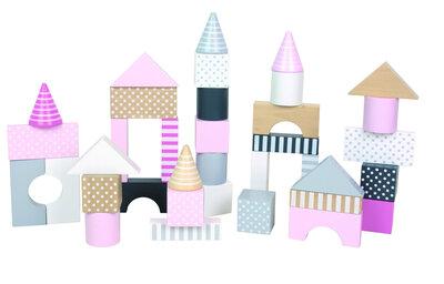 Opbergton met 50 houten bouwblokken (Roze)
