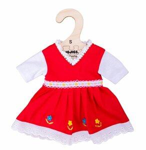 Kledingset 25 cm Rode jurk met bloemenrand Small