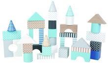 Opbergton met 50 houten bouwblokken (Blauw)